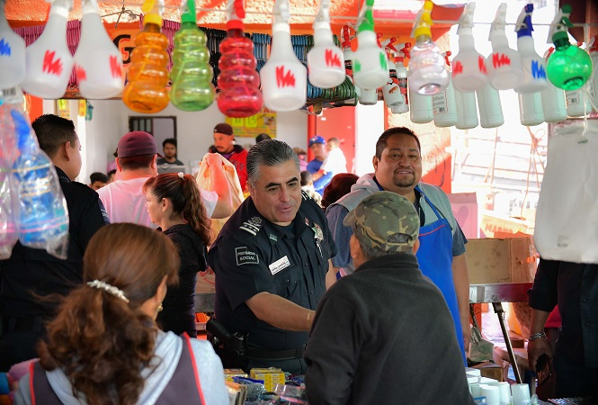 Refuerzan estrategia de seguridad en tianguis de Aguascalientes