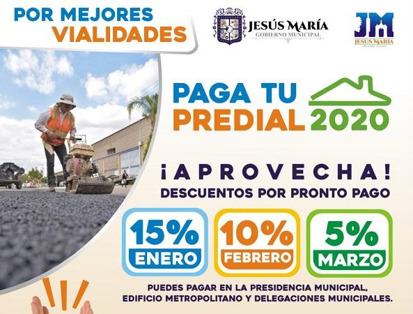 Ofrecen descuentos de hasta el 15% en el impuesto predial en Jesús María