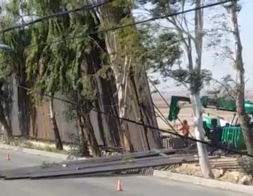 """El viento tira una parte del """"impenetrable"""" muro de Trump que divide Mexicali y Calexico"""
