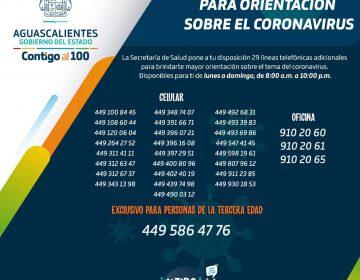 Ya son 29 líneas telefónicas para atención de casos sospechosos de coronavirus en Aguascalientes