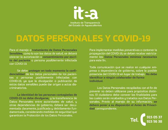Emite ITEA recomendaciones sobre datos personales por alerta sanitaria