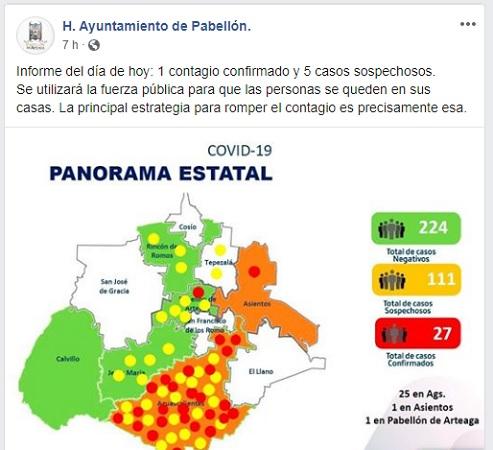 """Genera polémica posteo del municipio de Pabellón por """"uso de fuerza pública"""" en cuarentena"""