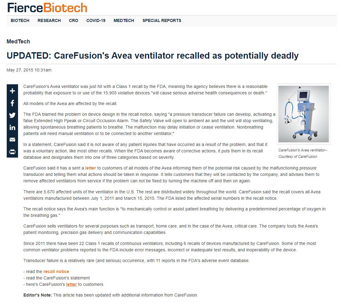 Nota de FierceBiotech que califica a los ventiladores AVEA como potencialmente mortales