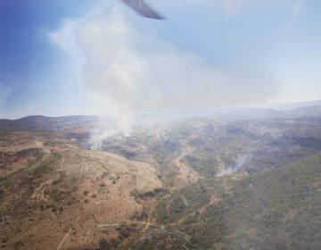Regresa helicóptero de la SSPE tras control del incendio forestal en Villanueva, Zacatecas