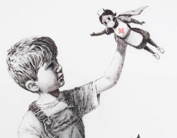 Banksy rinde homenaje a personal de salud en su nueva obra
