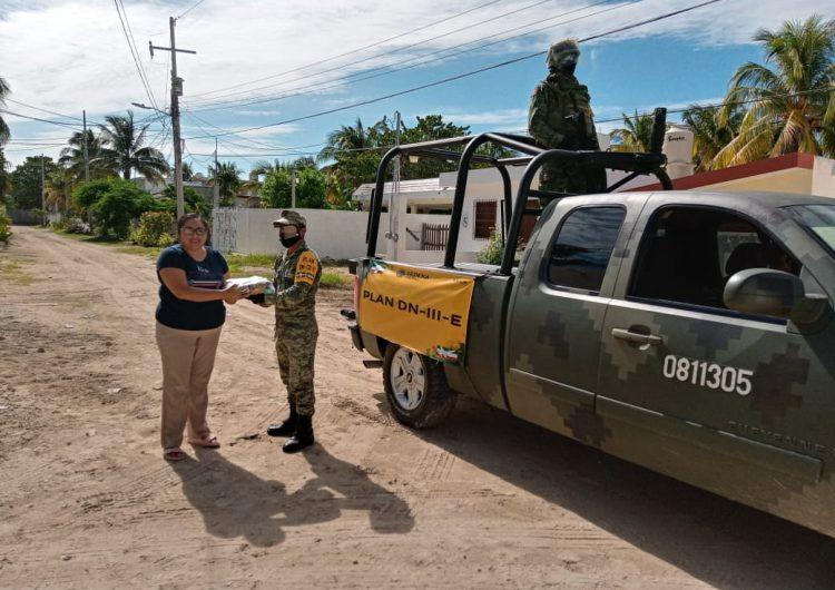 Apoya Ejército a CRIT-Yucatán en reparto de despensas