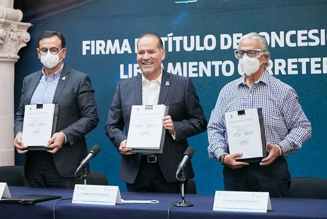 Firman título de concesión del libramiento carretero de Aguascalientes