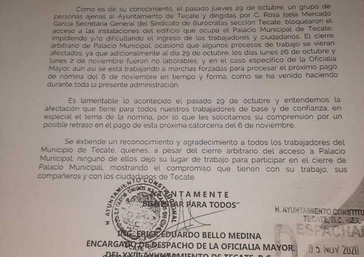 Anuncia gobierno de Tecate posible retraso en pago de nómina