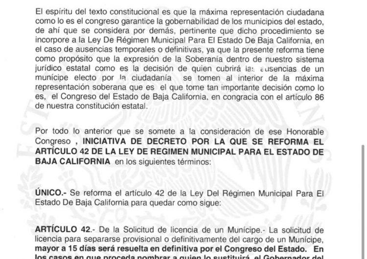 Otro Bonillazo: gobernador de BC propone que el congreso elija qué alcaldes pueden pedir licencia