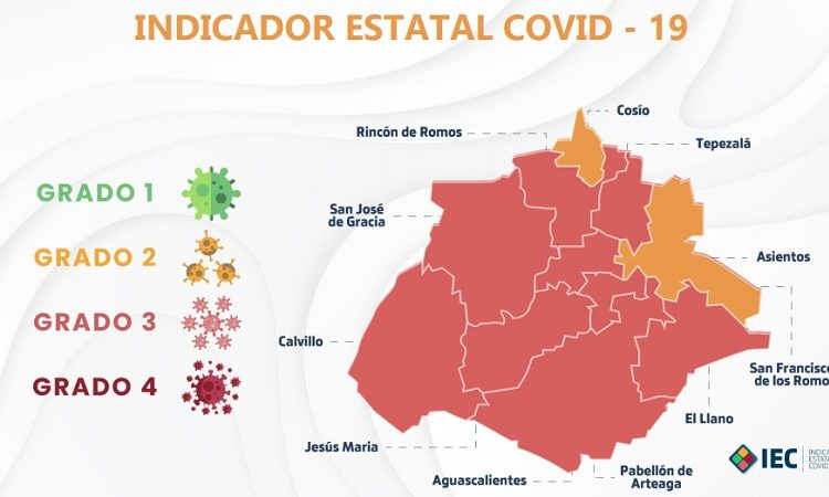 Dos municipios de Aguascalientes iniciarán el 2021 en color amarillo del Indicador Covid