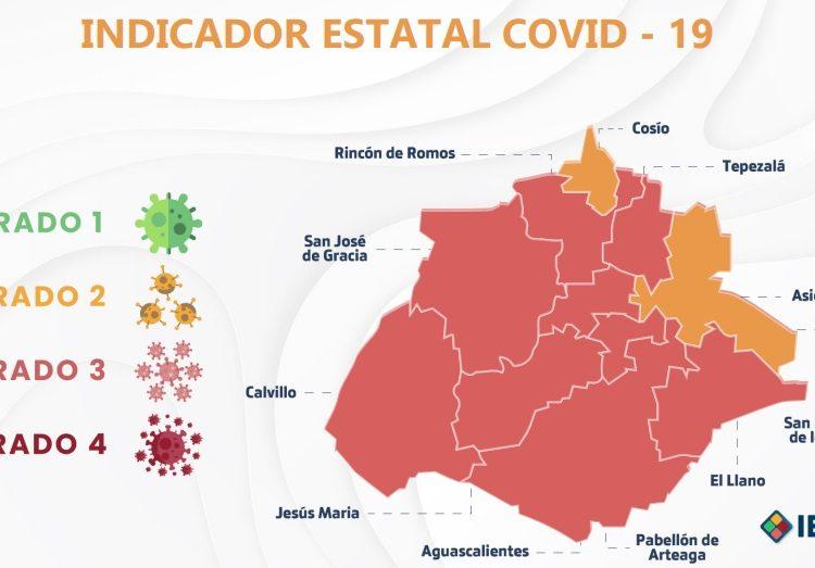 Continúan Cosío y Asientos en color amarillo del Indicador Estatal Covid