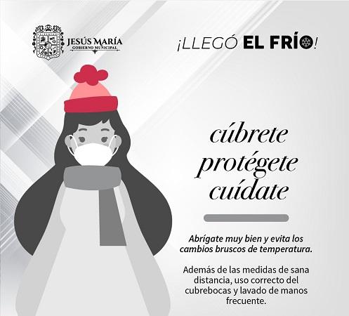 Fomenta municipio de Jesús María medidas de cuidado de la salud en temporada de frío
