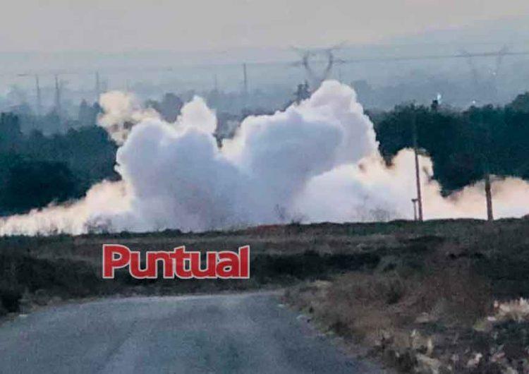 Toma clandestina provoca peligrosa fuga de gas en Texmelucan