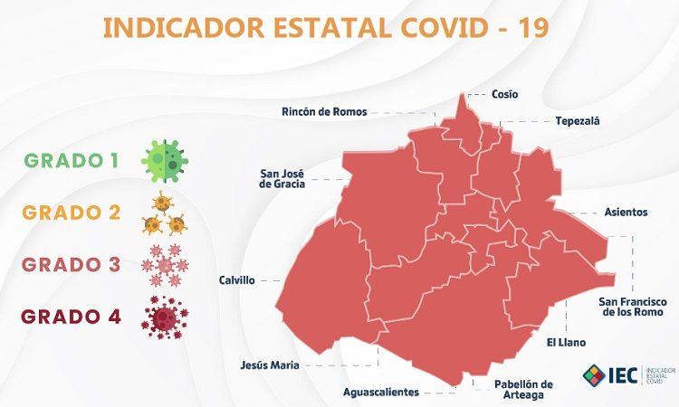 Todo Aguascalientes en color naranja del Indicador Estatal Covid