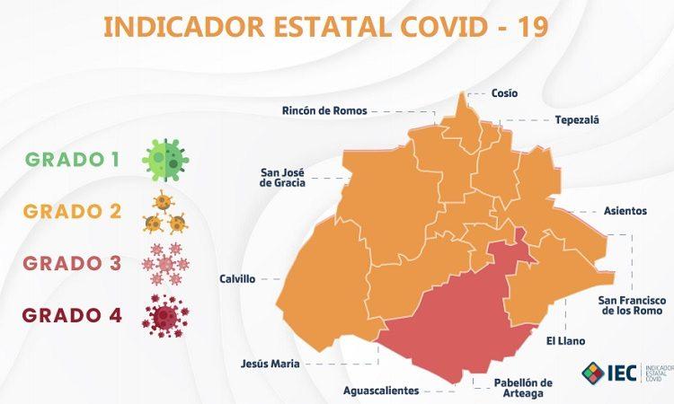 Aguascalientes se tiñe de amarillo; sólo la capital se ubica en naranja en Indicador Covid