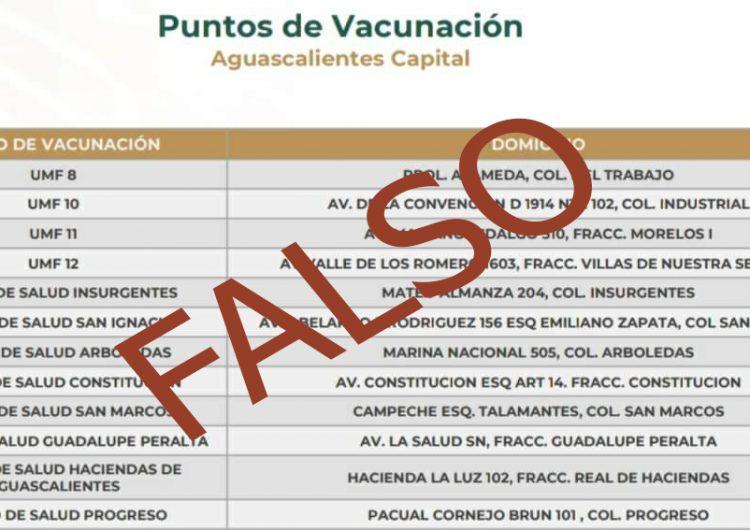 Son falsos los puntos de vacunación en municipio de Aguascalientes difundidos en redes sociales
