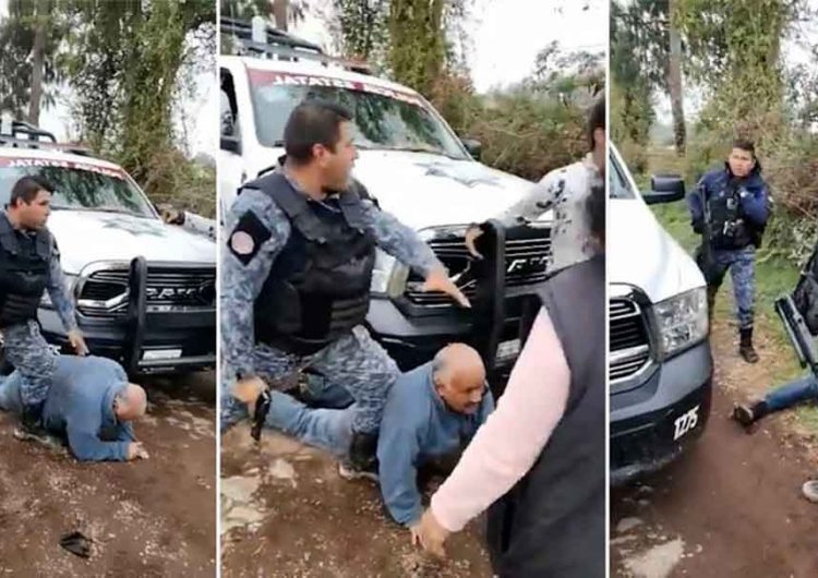 """Peligroso abuelito"" es sometido por uniformados de Huauchinango"