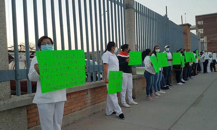 """Por falta de pago de """"Bono Covid"""" se manifiesta personal médico del Hospital Hidalgo"""