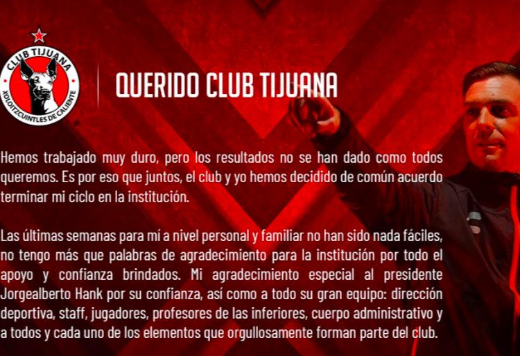 Anuncia Xolos de Tijuana que Pablo Guede ya no es su DT