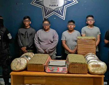 Con 50 kilos de marihuana detienen a narcomenudistas en Puebla