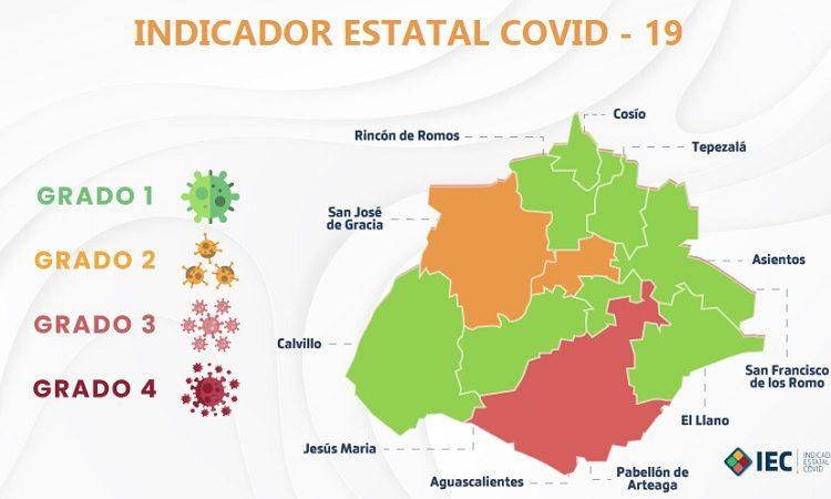 Pese aumento a defunciones, siguen ocho municipios de Aguascalientes en color verde