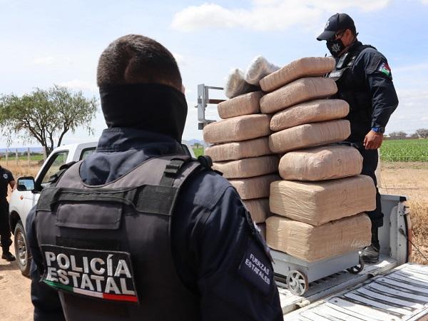 Asegura Policía Estatal 115 kg. de marihuana en límites entre Aguascalientes y Jalisco