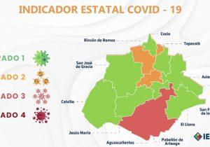 Ocho municipios en Aguascalientes en color verde del Indicador Covid