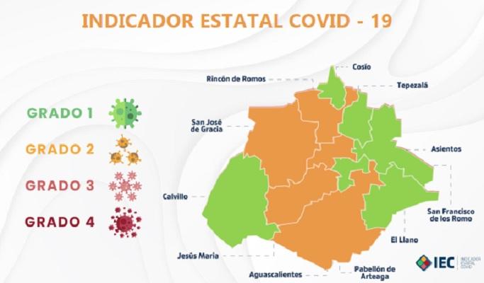 Continúan cinco municipios en color amarillo en el Indicador Covid de Aguascalientes