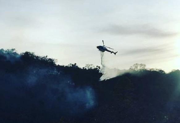 Con apoyo del helicóptero Águila 1 se han sofocado cuatro incendios forestales en Aguascalientes