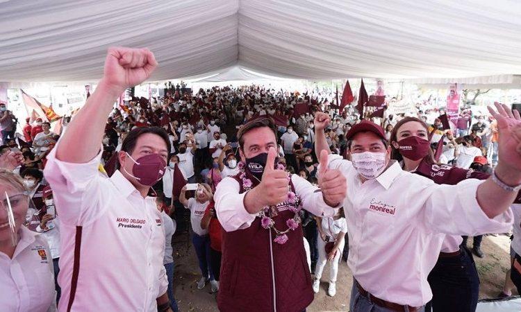 Con presencia de Mario Delgado, realiza MORENA su primer evento de cierre de campaña