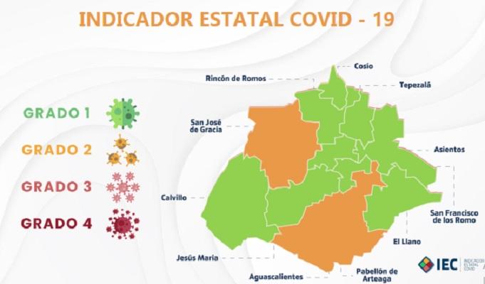 Se mantienen 9 municipios de Aguascalientes en color verde del Indicador Estatal Covid