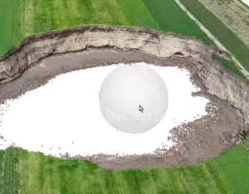Calculan en VIDEO 3D para saber profundidad del socavón de Puebla