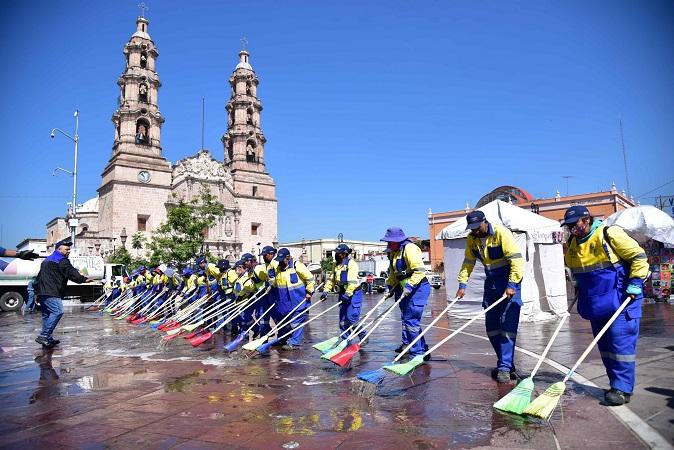 Intensifican acciones de limpieza e higiene en festejos de la Romería en Aguascalientes
