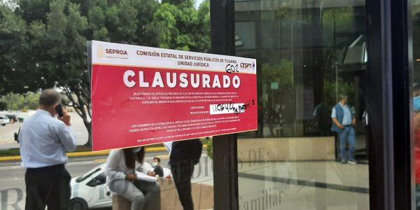 Clausura CESPT oficinas de Grupo Concordia por adeudo de 101 millones de pesos