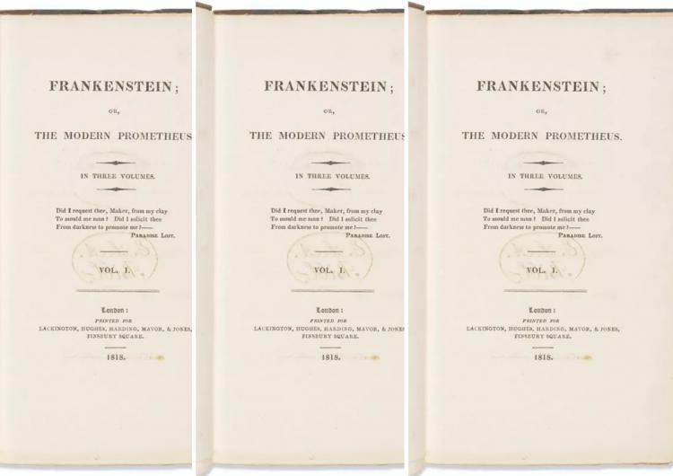 Primera edición de 'Frankenstein', de Mary Shelley, rompe récords: se vende en 1.17 mdd