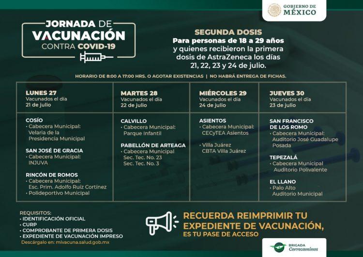 Próxima semana se aplicarán segundas dosis para jóvenes de 18 a 29 años de municipios del interior