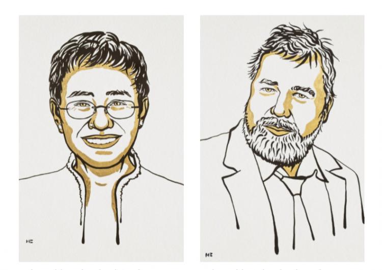 Dos periodistas ganan el Premio Nobel de la Paz 'por sus esfuerzos para salvaguardar la libertad de expresión'