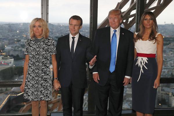 """Trump halaga a Brigitte Macron: """"estás en muy buena forma"""""""