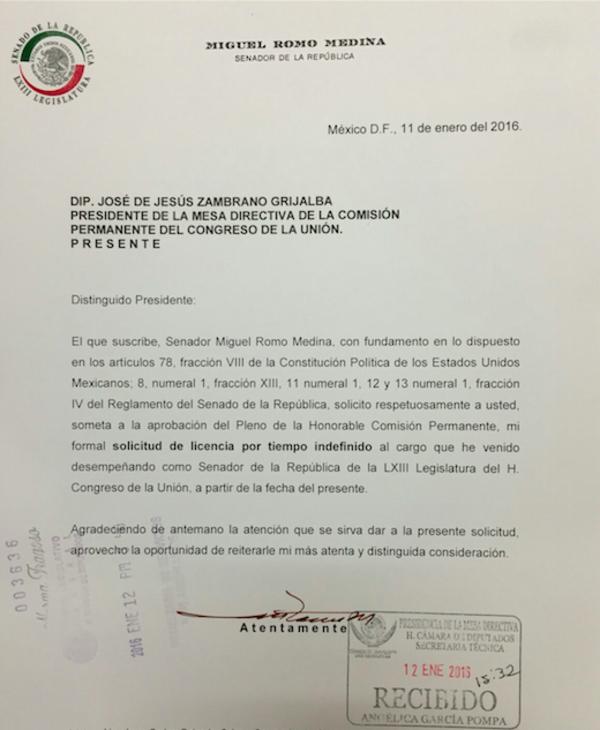 Solicita licencia Miguel Romo Medina