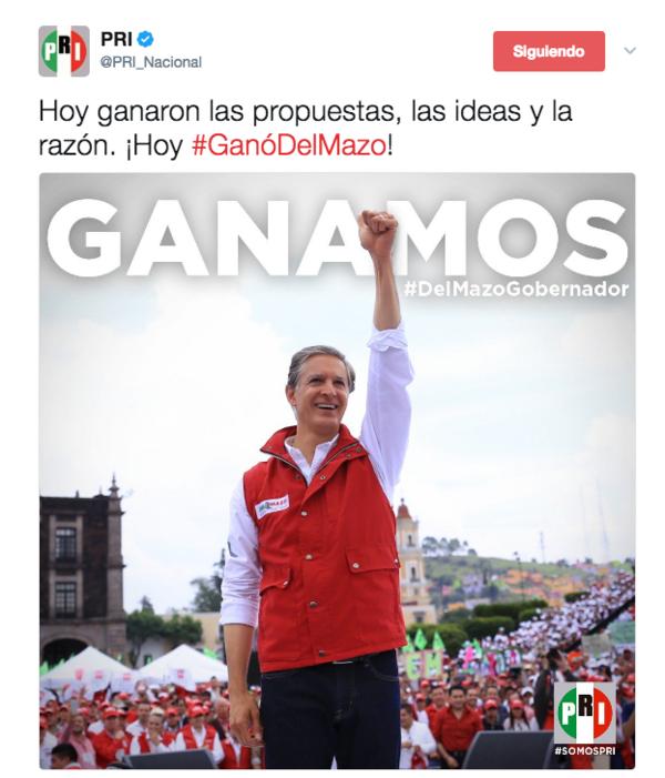 Edomex | PRI borra tuit tras declarar vencedor a Del Mazo