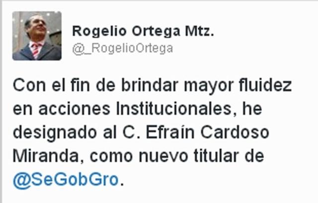 Nombran a Raúl Efraín Cardoso como Secretario de Gobierno en Guerrero