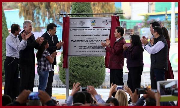 Devela Peña Nieto placa de macromural en Pachuca