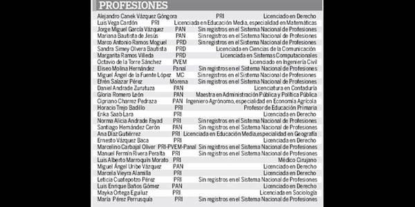 Carecen de profesión 11 diputados electos
