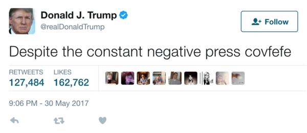 """""""Covfefe"""", un enigmático tuit de Trump se vuelve viral"""