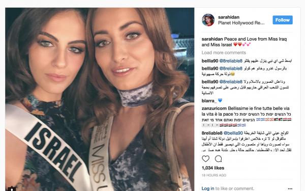 Miss Irak, amenazada de muerte por posar con Miss Israel